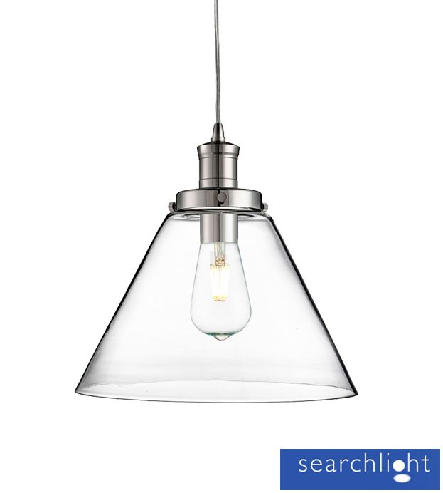 Searchlight 'Pyramid' 1 Light Ceiling Pendant Light, Chrome With Clear Glass Shade - 3228CC None