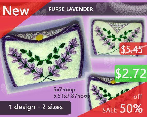 Purse Lavender No.265  wallet design  by EmbroideryRady on Etsy