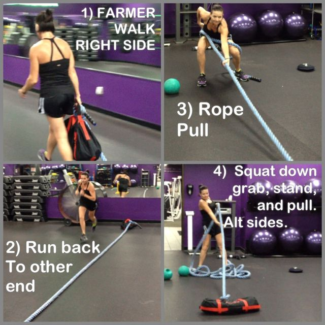 Great Core, conditioning, Butt, Back, Arm exercise combo!!  All you need is a sand bag and a battle rope. The part 2 picture is for the opposite side. Check out  www.wm-fitness.com