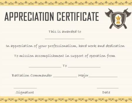 Salvation Army Certificate Of Reciation
