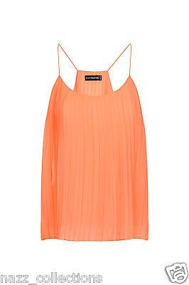 #Orange coral neon #chiffon pleated cami #strap swing top uk size 6 -16,  View more on the LINK: http://www.zeppy.io/product/gb/2/221526348206/