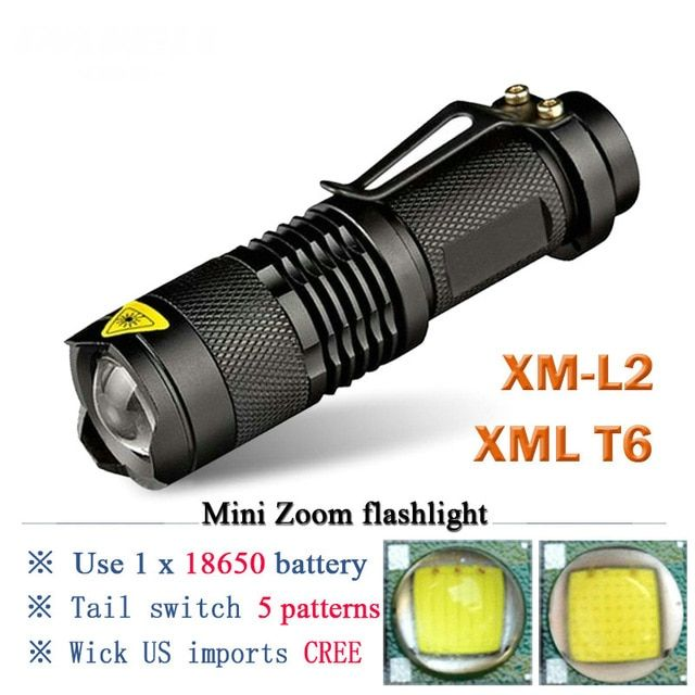 Portable 3800LM 5 Mode Zoomable Waterproof LED T6 Flashlight Camping Torch