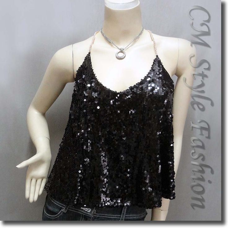Sexy Glamorous Sequined Camisole Blouse Top Black