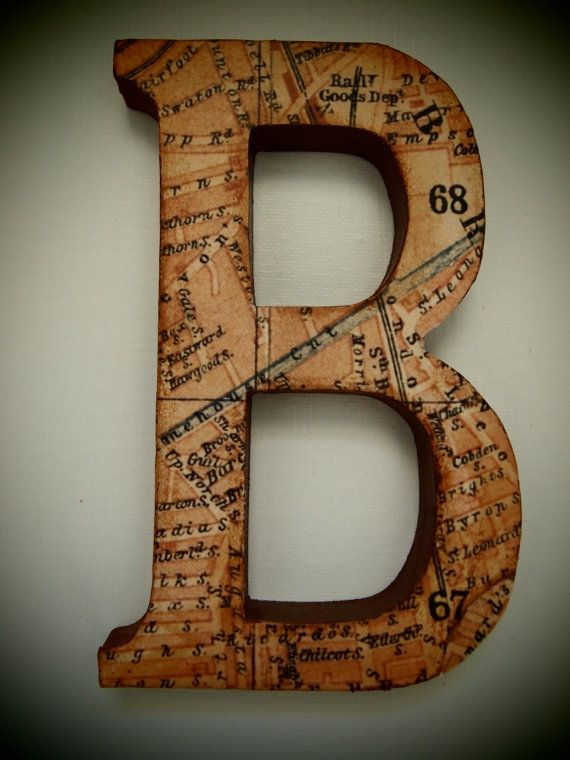 Cute craft project idea - decoupage wooden letters using an old map