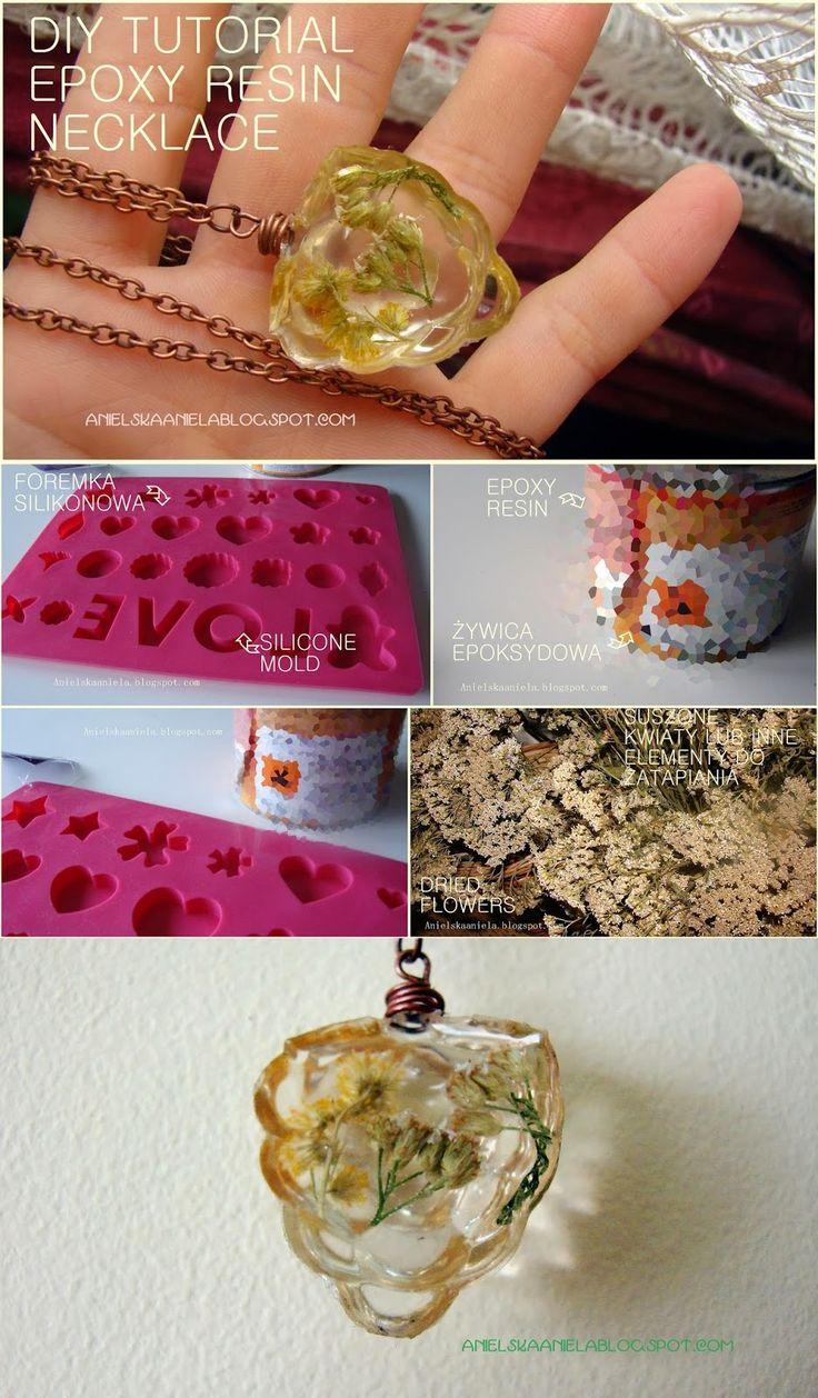 DIY TUTORIAL epoxy resin necklace jak zrobić naszyjnik z żywicy? diy biżuteria z żywicy