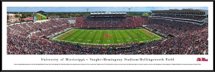 Ole Miss Rebels Mississippi Football Panorama - Vaught-Hemingway Stadium Panoramic Picture - Standard Frame $99.95