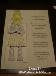 daniel and king's dream  http://biblecraftsandactivities.com/wp-content/uploads/2012/08/nebuchadnezzar-statue.pdf
