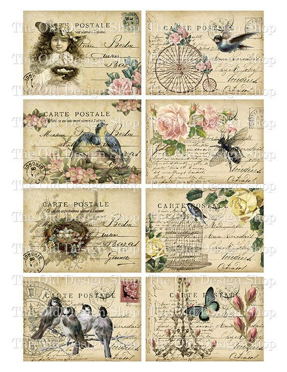 Shabby Altered Postcards ATC Printable Digital by TheOldDesignShop, $4.00