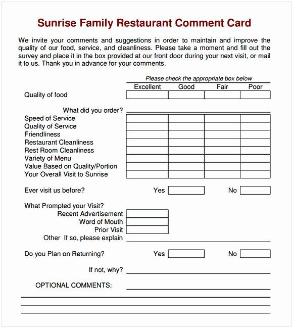Restaurant Comment Cards Template Awesome Ment Card Template Card Templates Printable Kindergarten Lesson Plans Template Card Template