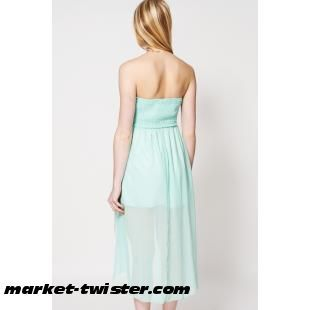 Pleated Top Dipped Hem Strapless Cocktail Dress