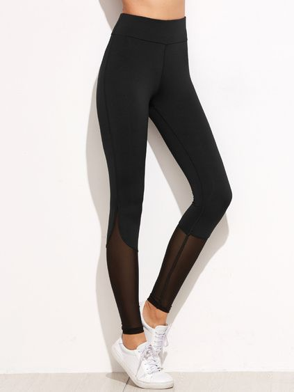 Black Contrast Mesh Leggings Mobile Site