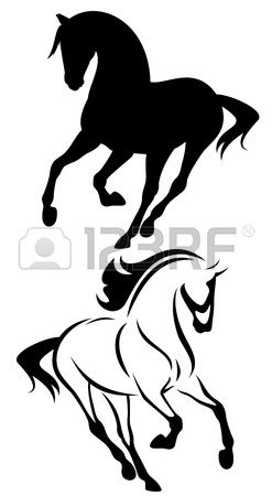 beautiful running horse vector outline and silhouette - black and white illustration