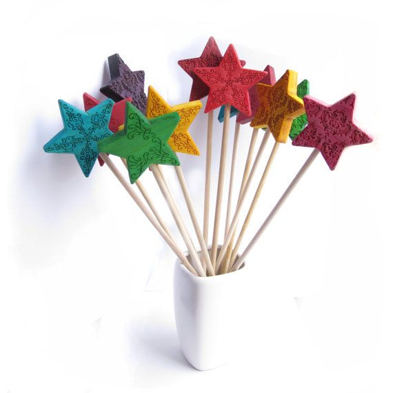 Wands 6 star birthday party pastel fairy wand magic for Birthday wand