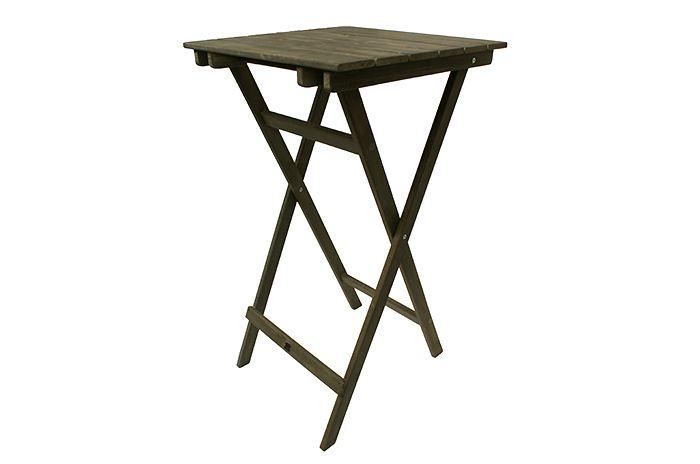Foto de la mesa alta cuadrada plegable en madera de Francisco Segarra.