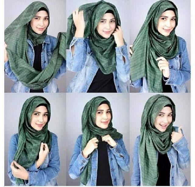 foto tutorial memakai hijab modern ala wanita turki