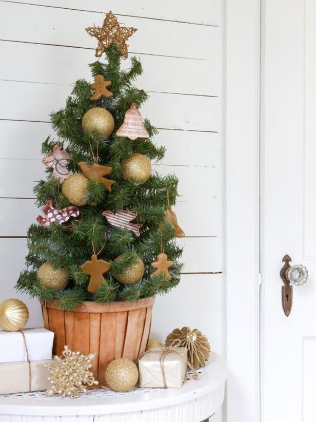 Kleine rustieke Kerstboom voorwerp en Cookie Cutter Ornamenten