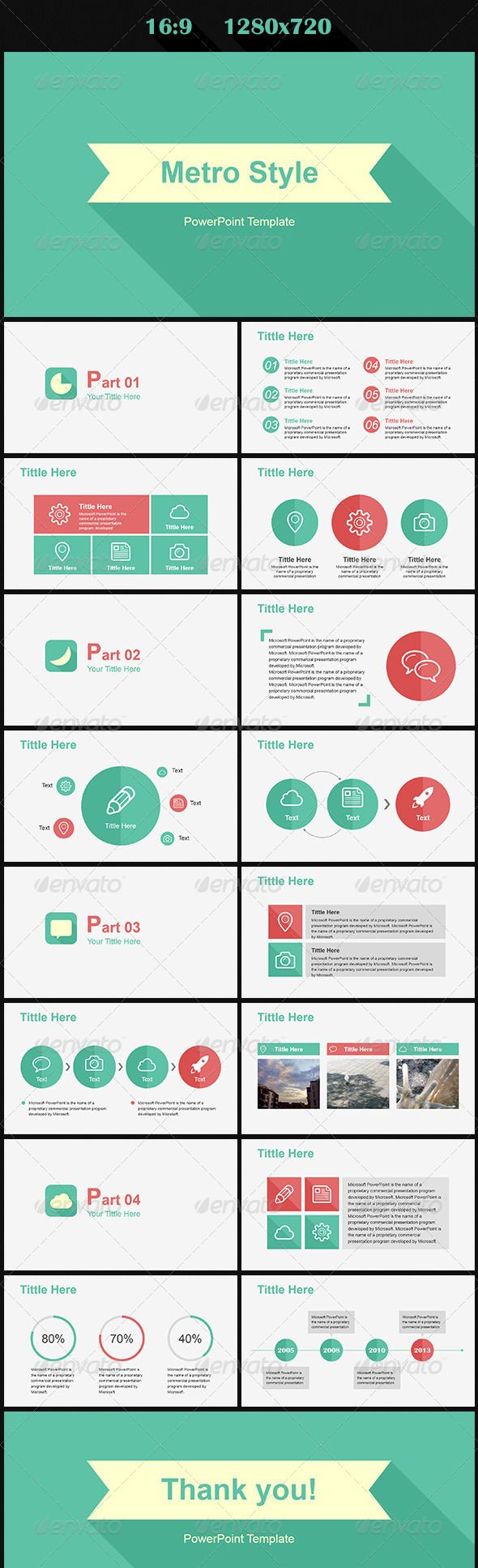 Metro Style #GraphicRiver It's a modern and fashion powerpoint template with metro style. All slides are fully editable. Easy to change colors, text, photos etc. Edit the charts and diagrams to fit your data. Show your business in a clean and elegant way. The pictures are not included in the file. Fonts: Arial Icons (Thanks to): .iconfinder Created: 19October13 PixelDimensions: 1280x720