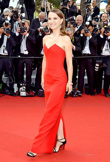 Natalie Portman at the opening ceremony of Cannes on May 13, in a strapless fire-engine red gown featuring a sweetheart bodice.