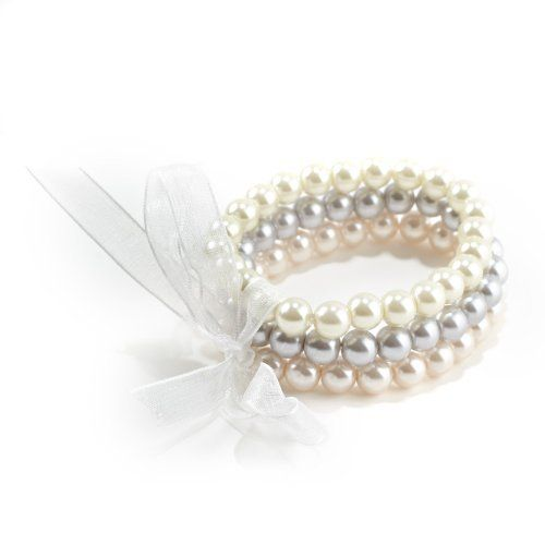 Three Piece Faux Pearl Stretch Bracelet Set Tied with An Organza Ribbon in Natural, Pale Pink and Pale Gray Glamour Rings. $9.95