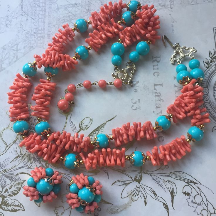A personal favorite from my Etsy shop https://www.etsy.com/listing/554428679/vintage-faux-coral-turquoise-choker