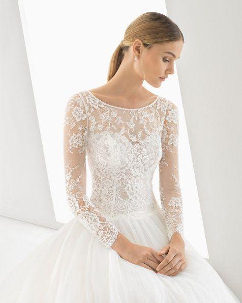 vestido de novia estilo princesa de encaje tul y pedrería. manga