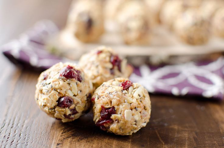 Cranberry almond energy bites. A protein packed recipe that you can store in your freezer for a healthy and convenient snack or breakfast!