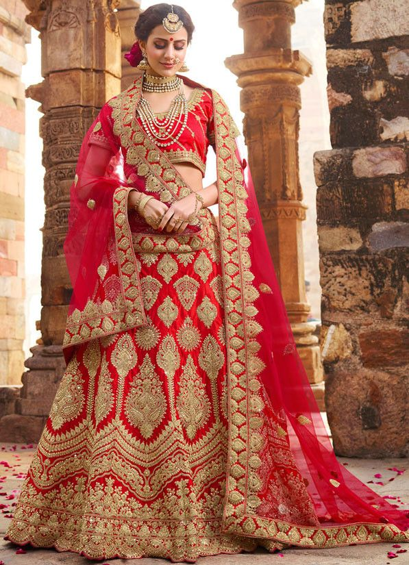 bef0cf2b16b353 Vibrant Hot Red #Bridal #Lehenga Choli | Lehenga Choli | Bridal ...