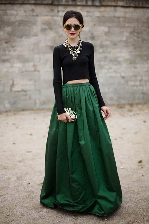 Emerald ball skirt, red lip & jeweled accessories. Harper's Bazaar.