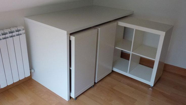 Combine pieces of IKEA furniture. IKEA Hackers discovered that LINNMON table tops, combined with EXPEDIT storage grid modules, can create a simple rolling library.