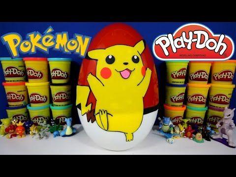 GIANT PIKACHU Surprise Egg Play Doh - Pokemon Toys with Pokeball TMNT Minecraft Spongebob - YouTube