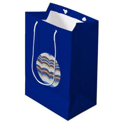 Round Blue Mosaic Medium Glossy Gift Bag  $9.60  by elena_craft_supplies  - cyo customize personalize unique diy idea
