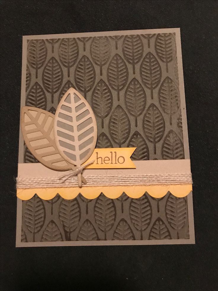 "The new BASICS colors are anything but basic. This weeks Color Dare uses Nutmeg, Toffee, Almond & pick your own yellow...I chose Canary. The colors reminded me of autumn & gave me the perfect excuse to pull out my Leaves embossing folder & Leaf thin cuts. Matching inks, scallop thin cuts, white burlap & retired M stamp, ""A Quick Hello"" finish off this CAS card."