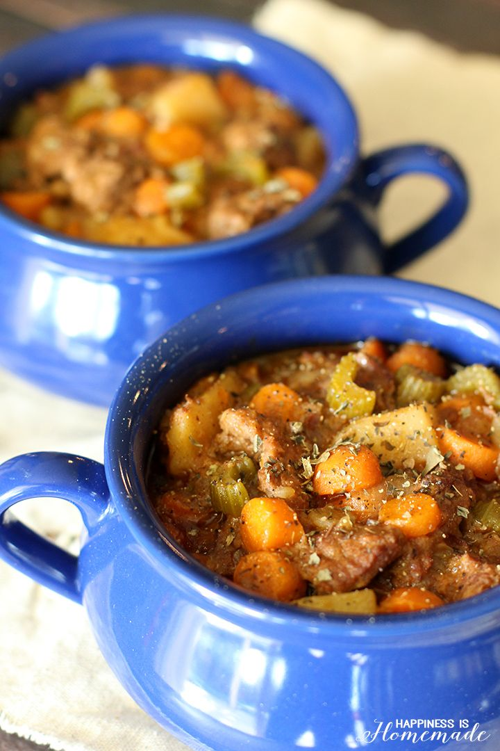 Slow Cooker Rustic Beef Stew - makes your house smell delicious as it cooks all day!  via Happiness is Homemade ad