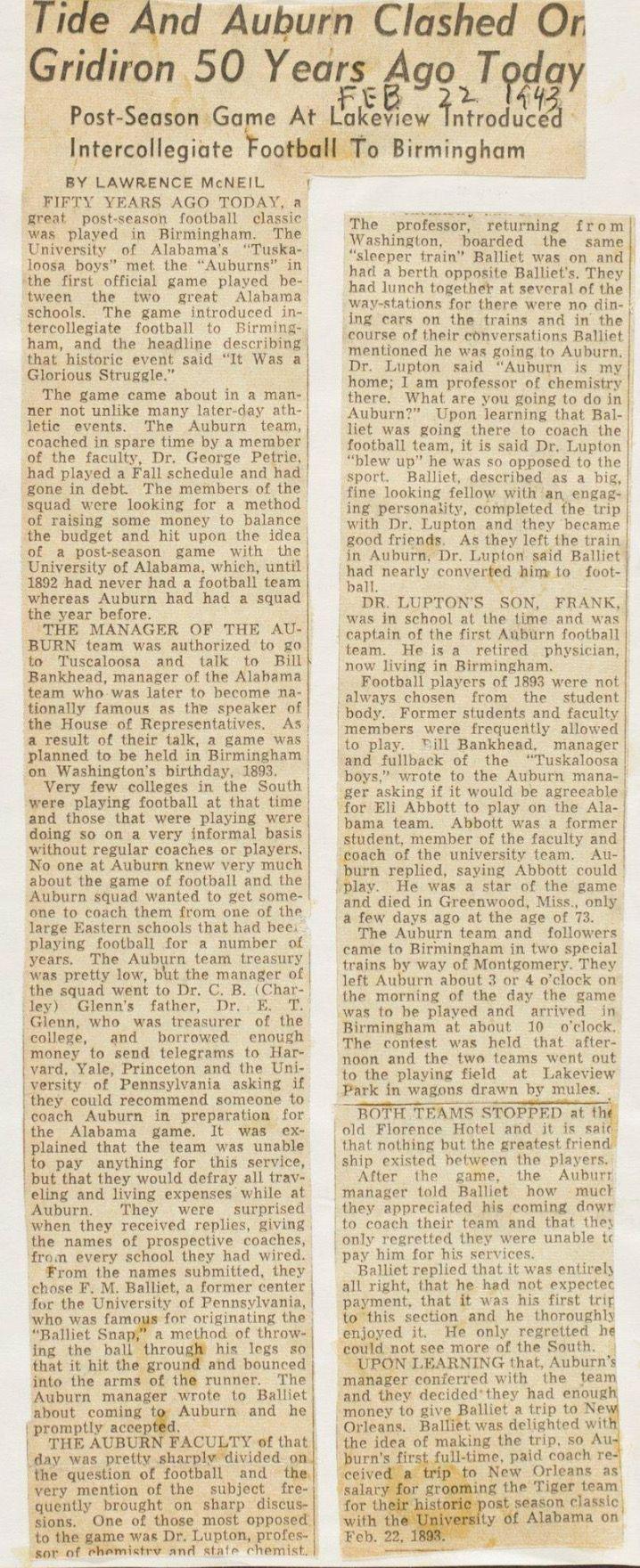 1943 Newspaper article about the Alabama vs Auburn game 50 years prior   #Alabama #RollTide #Bama #BuiltByBama #RTR #CrimsonTide #RammerJammer