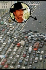 When Chuck Norris rides on the freeway, people cause 100 car pileups to give him the right of way....
