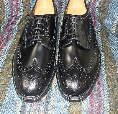 Loake Braemar black polished leather full-brogue Derby shoe width fitting F | eBay