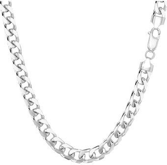 JewelryAffairs 14k White Gold Miami Cuban Link Chain Necklace