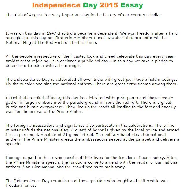 Independence Day Short Essay | Independence Day India | Pinterest ...