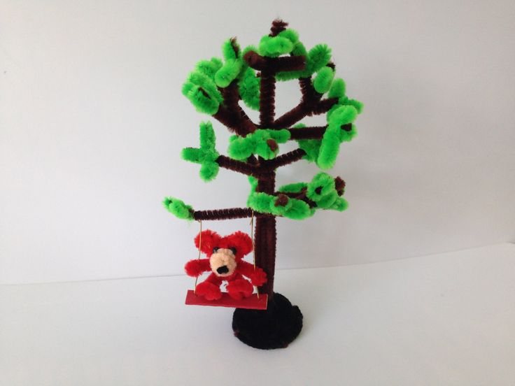 Pipe cleaner tree with a swing, DIY tutorial #46