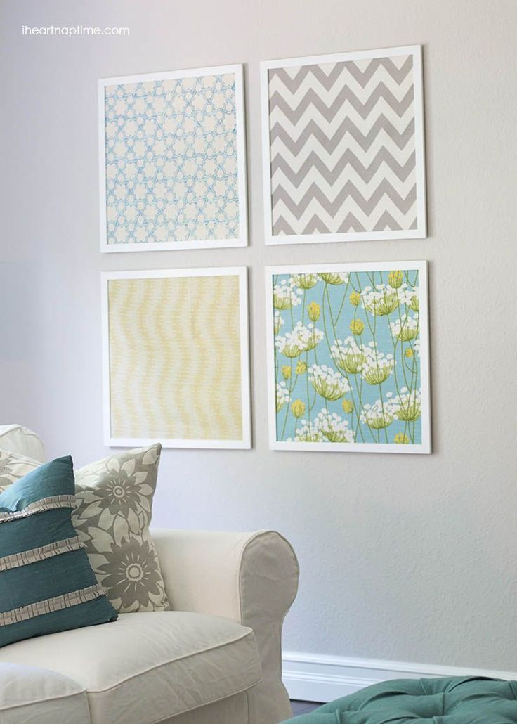 DIY Shoestring Wall Art Ideas and Projects • Love these inexpensive wall art ideas, like this DIY fabric art from 'I Heart Naptime'!