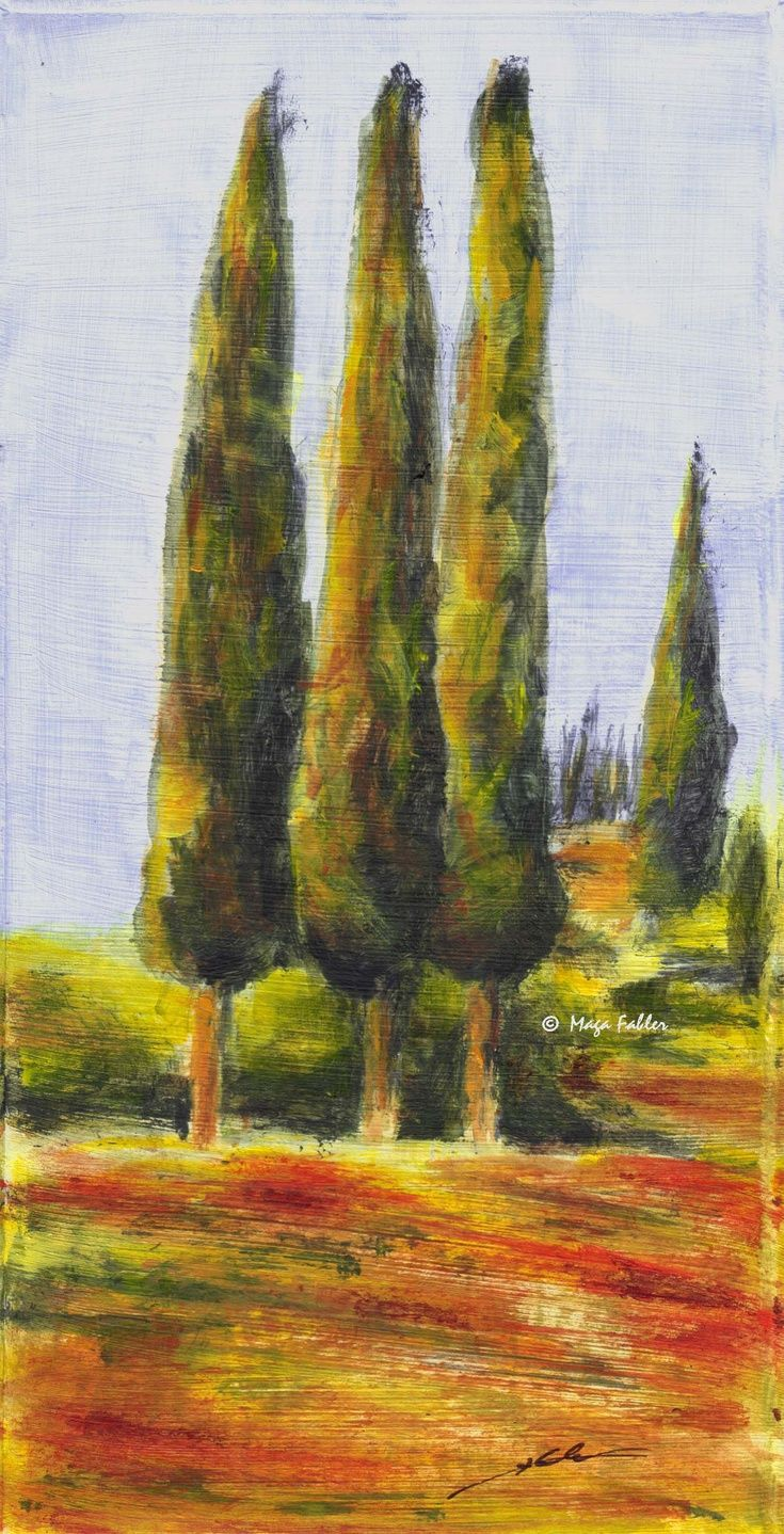 Cypresses and poppies in Tuscany (Art d'Eco) by Maga Fabler  Original acrylic painting on recycled cardboard