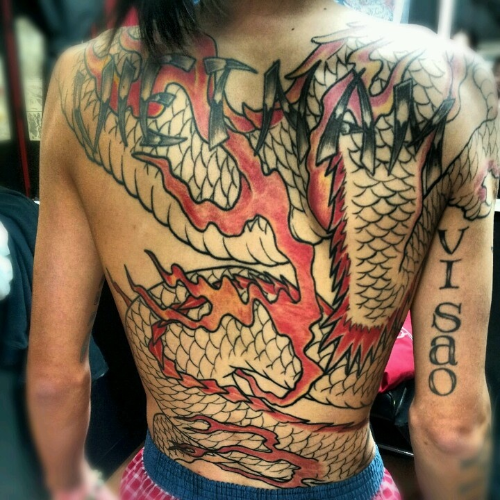 Full body dragon tattoo by hung at hung 's tattoo parlor ...