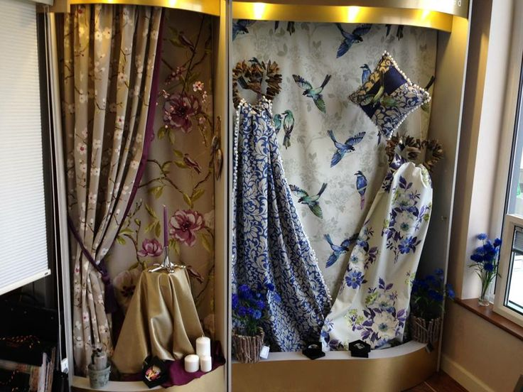 33 best curtain display images on pinterest stained for Curtain display ideas