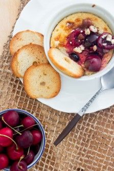 A rich and creamy baked Ricotta, served with a summer cherry compote