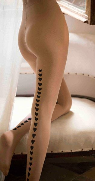 Line Of hearts printed tights body color & black #TrendyLegs