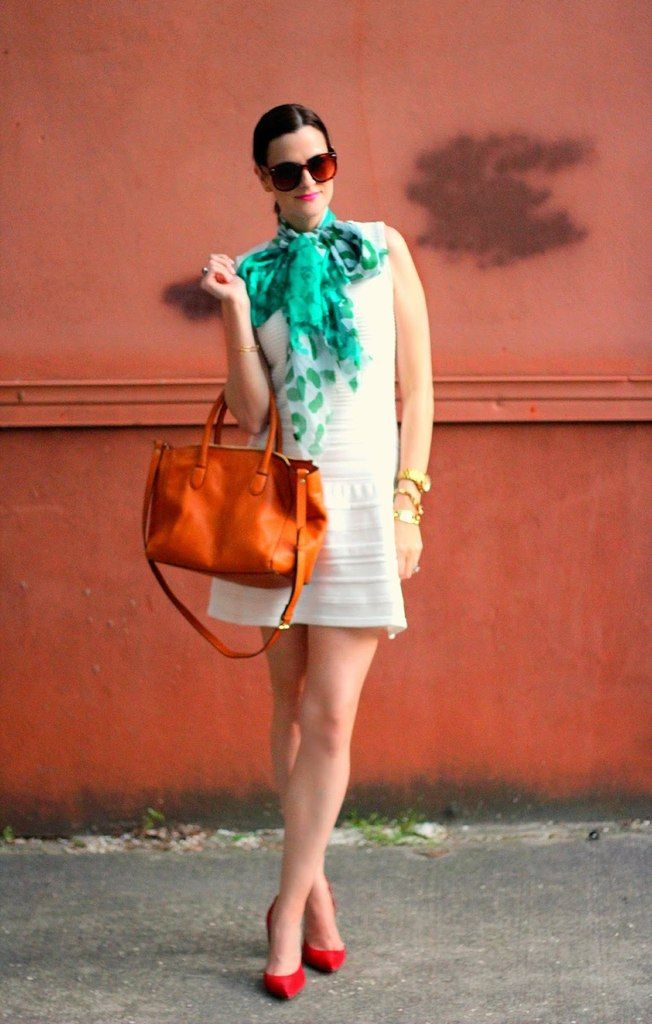 Shop this look on Lookastic:  http://lookastic.com/women/looks/mint-scarf-and-white-casual-dress-and-tobacco-shopper-handbag-and-red-heels/1874  — Mint Print Silk Scarf  — White Casual Dress  — Tobacco Leather Tote Bag  — Red Leather Pumps