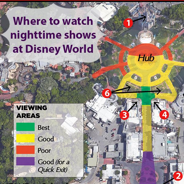 Maps of viewing areas for all the nighttime entertainment options @ Disney World - Tips for where to watch all the shows