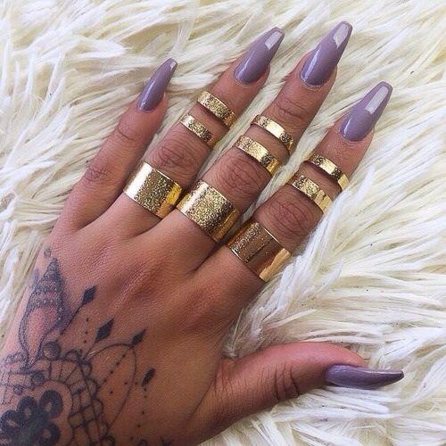 Pretty Purple Coffin Shaped Nails Love The Rings Nails