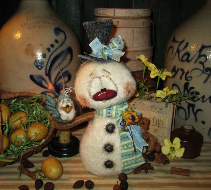 "Primitive Spring Frosty Snowman Robin Blue Bird 9"" Doll Vtg Patti's Ratties Bear"
