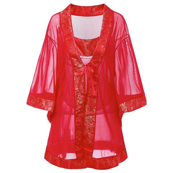 Sexy Perspective Mesh Printed Bellyband Kimono Bathrobe Suit Nightwear